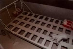 Fotografie ze spisu, které zveřejnil M. Svatoš, ukazují pohled do cely a postel, na níž měl vězeň Petr K. uhořet.