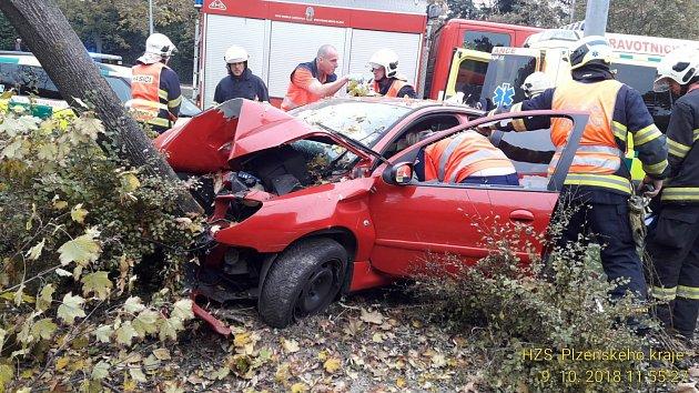 Vážná dopravní nehoda ve Studentské ulici v Plzni.