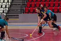 Jednou z opor pozemních hokejistek Litic byla v halové sezoně úspěšná střelkyně Denisa Vyletová (vpředu).
