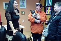 Ze stovky týraných pejsků má dnes už sedmdesát nový domov. Zleva na snímku Linda Hejlová z majetkového odboru plzeňské pobočky ÚZSVM a kupující z Litoměřic.
