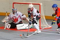 PRVNÍ VLAŠTOVKA? Hokejbalisté Dobřan (na archivním snímku v bílém) získali v Hradci Králové první bod. Další utkání sehrají Šneci v sobotu, kdy hostí od 13 hodin Pardubice.