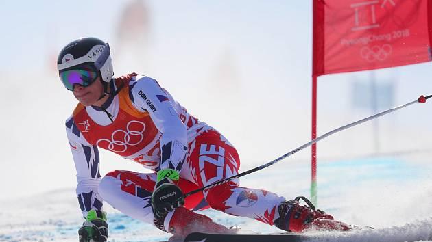 Filip Forejtek na loňské olympiádě při závodu v jedné z disciplín alpského lyžování.
