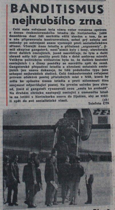 Článek v Pravdě o únosu letadla z 10. června 1970.