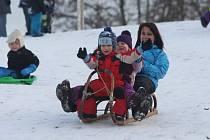 Dětem sníh udělal radost