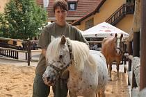 """Věra Březinová s poníkem Viki, jíž dělá společnost ještě kůň Wallis. """"Ani tyto zvířata prosím nekrmte, mají  od nás žrádla dost a vaše ´dobroty´ jim můžou ublížit,"""" vzkazuje ošetřovatelka návštěvníkům"""