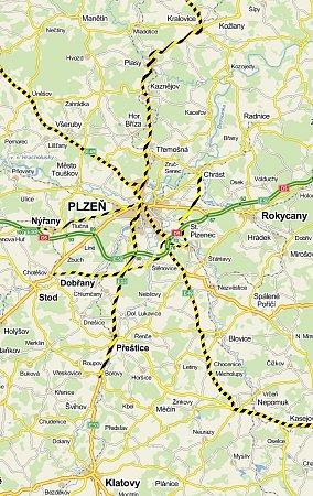 Mapa Plzeňska se zvýrezněním silnic, kde se vroce 2012bouralo nejčastěji