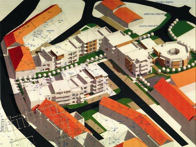 Vizualizace projektu nového centra Stoda. Domy mezi radnicí (vlevo dole) a Komerční bankou se nechají zbourat a v prostoru za radnicí budou nové bytovky, obchody a zeleň i s potokem