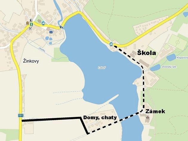 Šrafovaně je vyznačena cesta vedoucí od domků a chat po mostu přes žinkovský rybník kzákladní škole, uníž se nachází například také domov klidného stáří a Sportcentrum. Černá čára vyznačuje komunikaci, která existuje pouze vúzemním plánu městyse