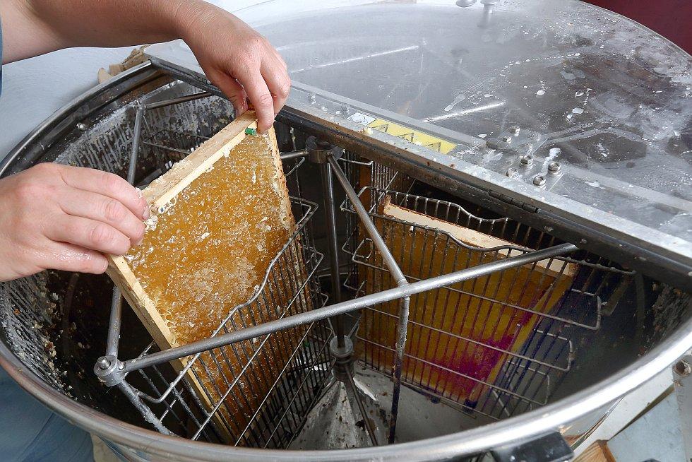 25 – V medometu se rámky roztočí, med se odstředí a po stěnách stéká dolů.