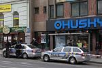 Policejní manévry na Americké třídě v Plzně