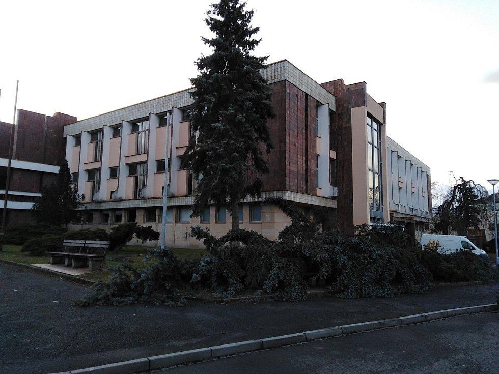 Vichřice řádila i v Klatovech, kde například u kulturního domu padly dva smrky, jeden při pádu poškodil i lampu veřejného osvětlení
