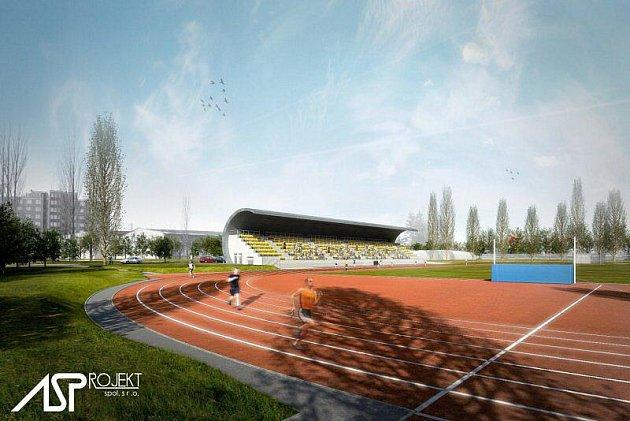 Vizualizace nového atletického stadionu ve Skvrňanech.