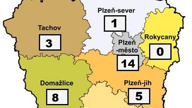 Mapa nákazy koronavirem v Plzeňském kraji - 25. března 2020