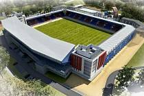 Vizualizace budoucí podoby fotbalového stadionu FC Viktoria Plzeň.