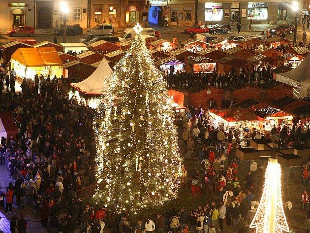 Vánoční strom v Plzni letos ozdobilo 280 velkých a na deset tisíc malých žárovek.