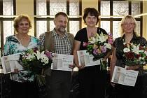 Ocenění za práci s dětmi převzali (zleva): Marie Kopečná, Václav Brand, Štěpánka Balvínová Žáková a Věra Jordanovová