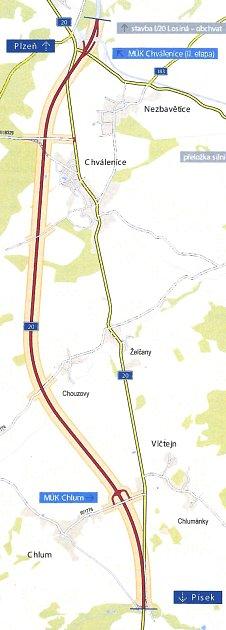 Obchvat Chválenic, jak ho představuje studie zpracovávající úsek silnice I/20 mezi D5 a Sečí