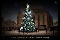 Do 30. září mají Plzeňané možnost hlasovat na webových a facebookových stránkách města o podobě výzdoby letošního vánočního stromu. Druhou variantou je led řetěz, plastové ozdoby, led padající sníh a světelné vločky. Foto: plzen.eu