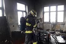 Požár v Přeštické ulici v Plzni