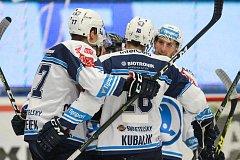 Radost z gólu v podání plzeňských hokejistů