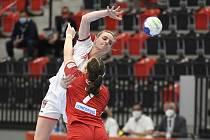 Markéta Jeřábková v reprezentačním dresu proti týmu Švýcarska.