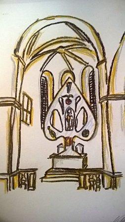 Návrh Václava Česáka vychází způvodní barokní podoby hlavního oltáře zelenohorského kostela.Nový oltář však bude vyroben ze zrcadlového nerezu, vněmž se bude interiér kostela odrážet. Uprostřed oltáře najde své místo také socha Panny Marie téhož autora