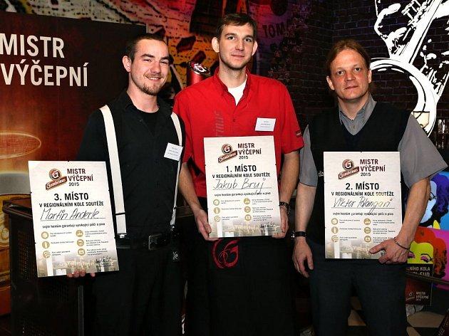 Nejúspěšnější trojice regionálního kola soutěže Gambrinus Mistr výčepní 2015