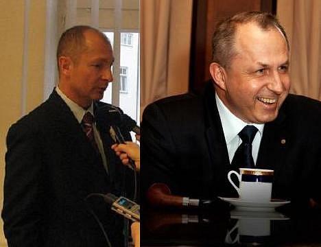 Hejtman Petr Zimmermann (vlevo) a senátor Richard Sequens se při svém posledním setkání příliš nepohodli, zřejmě kvůli nedávné prezidnetské volbě.