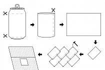Dům z plechovek. Nákres Pavla Karouse ukazuje, jak z plechovek vzniknou hliníkové pláty ke stavbě mobilního domu