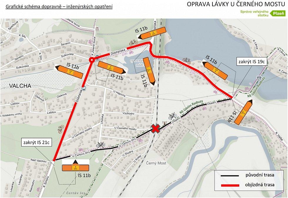 Naplánovaná objízdná trasa pro cyklisty.