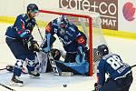 Ze zápasu 11. kola hokejové Tipsport extraligy HC Škoda Plzeň (v modrém) -  Bílí tygři Liberec 3:1