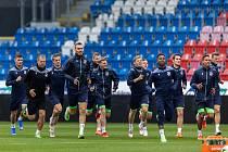 Fotbalisté Viktorie Plzeň na posledním tréninku před úvodním zápasem play-off Evropské konferenční ligy, v němž dnes od 19 hodin vyzvou v Doosan Areně bulharský CSKA Sofia.