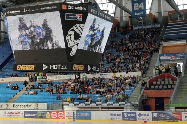 Fanoušci HC Škoda Plzeň mohli sledovat zápas ze Zlína přímo na zimním stadionu v Plzni