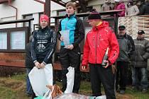 V absolutním pořadí zvítězil v kategorii mužů ve 23. ročníku Silvestrovského běhu ve Ždírci Pavel Štěpáník z TJ Sušice před Janem Majerem z TTK Slavia VŠ Plzeň (vlevo) a Lukášem Menclem z TK Sokol Blovice
