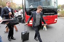 Příjezd fotbalistů FC Bayern Mnichov do Plzně