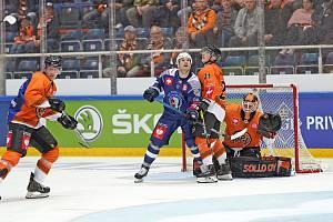 Obnovenou premiéru v plzeňském dresu zažil při vítězném zápase v Hämeenlinně útočník Martin Heřman (uprostřed).