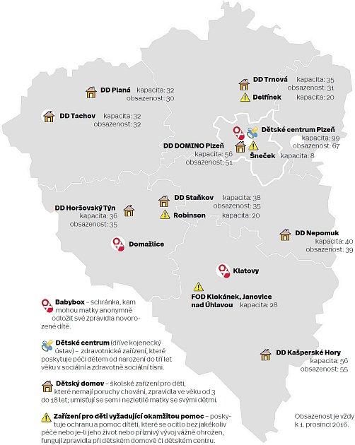 Mapa a obsazenost zařízení vPlzeňském kraji