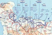 Červená linie na mapce zobrazuje postavení spojenců 12. června, tedy šest dní po vylodění v Normandii