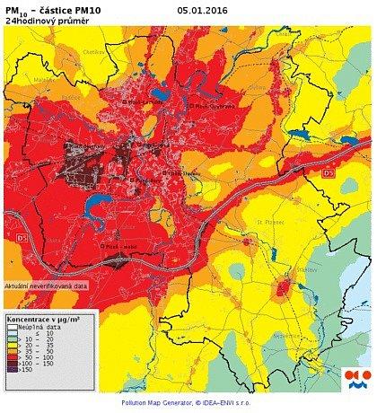 Koncentrace PM10 v ovzduší - 5. ledna