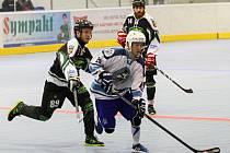 Hokejbalisté Plzně (na archivním snímku ve světlém dresu) procházejí nejvyšší soutěží jako nůž máslem, o víkendu rozdrtili Kovo Praha a výhru přivezli i z Mostu.