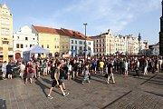 Demonstrace proti Andreji Babišovi na náměstí Republiky v Plzni.