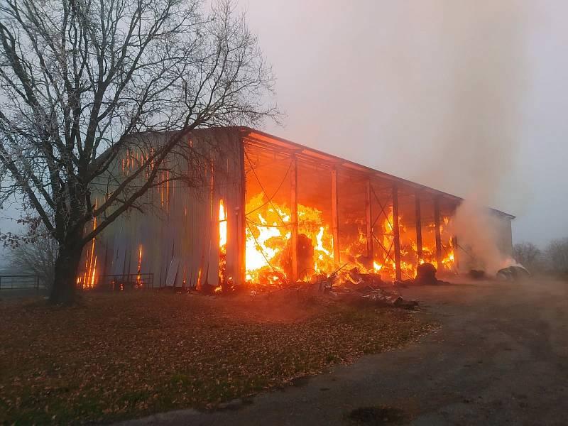 Požár v Chodském Újezdu. Foto: Policie ČR
