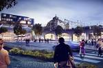 Celkový pohled na nádraží, který prezentují plzeňští architekti. Z nádraží by se stala multifunkční zóna s pasážemi, obchody a také s lepší dostupností pro lidi, kteří by nemuseli procházet potemnělými podchody