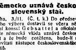 Německo uznává československý stát