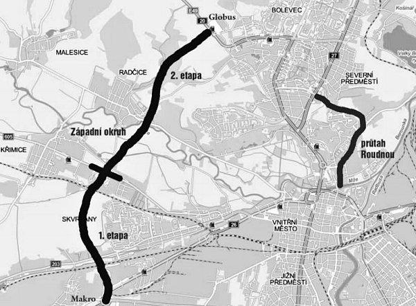 Západní okruh se už buduje, dosud je hotová jeho 1.část mezi výpadovkou na Domažlice a Křimicemi. Průtah Roudnou se připravuje už více než deset let, měl by stát mezi FN Plzeň na Lochotíně a parkovacím domem Rychtářka.