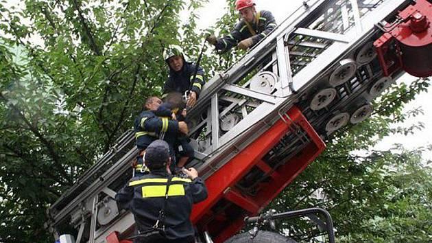 Chlapce zachraňovali po žebříku
