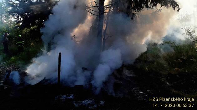 Požár u tábořiště bezdomovců.