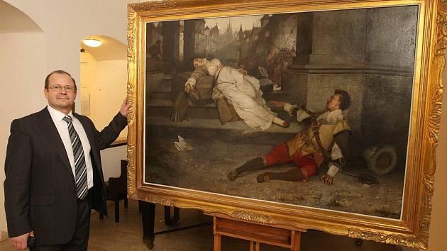 Ředitel Západočeské galerie v Plzni Roman Musil včera představil obraz Václava Brožíka Anežka Steinhäuserová a Zikmund ze Švamberka (Ve smrti spojeni), který se za jeden a půl milionu korun stál součástí galerijních sbírek