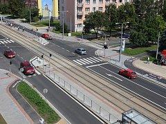 Křižovatka ulic Koterovská a Habrmannova v Plzni na Slovanech po rekonstrukci