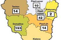 Počet nakažených v Plzeňském kraji - 5. dubna 2020